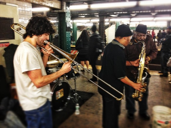 rails, music, live music, horns, West 4th St, subway, platform, F train, funk